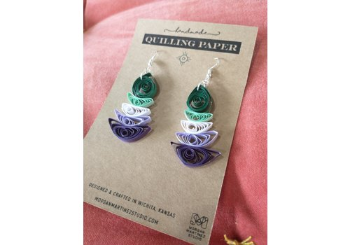 Morgan Martinez Studio Handmade Quilling Paper Earrings- Teal, White and Purple