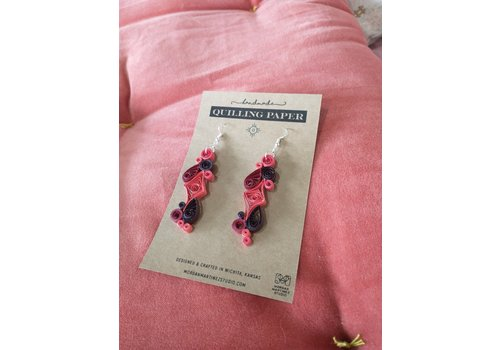 Morgan Martinez Studio Handmade Quilling Paper Earrings- Reds and Black