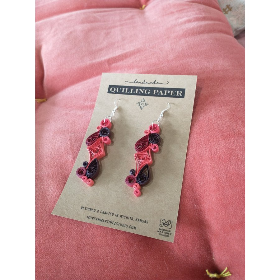 Handmade Quilling Paper Earrings- Reds and Black