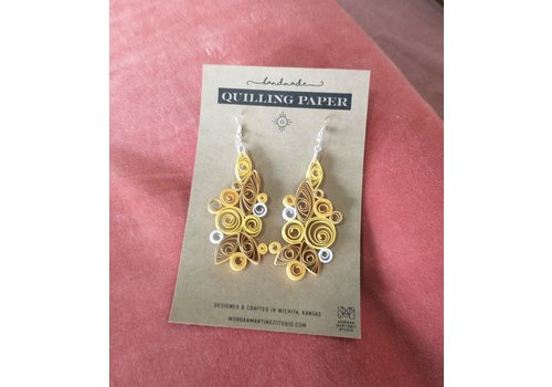Morgan Martinez Studio Handmade Quilling Paper Earrings- Yellow and Golds