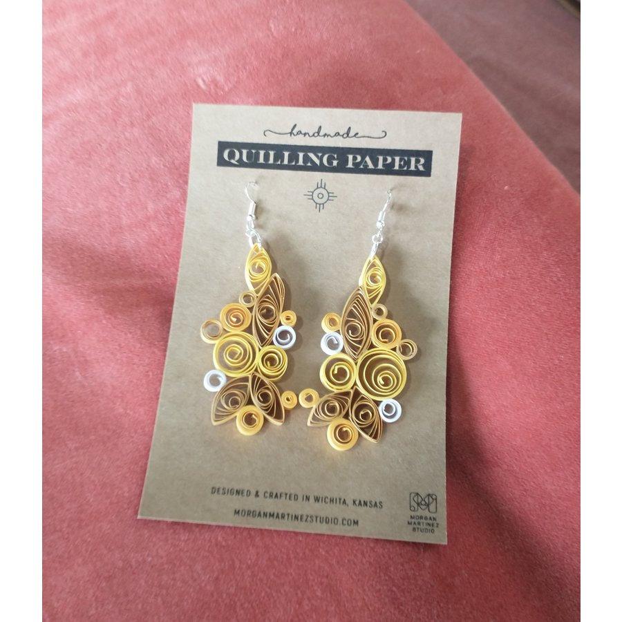Handmade Quilling Paper Earrings- Yellow and Golds