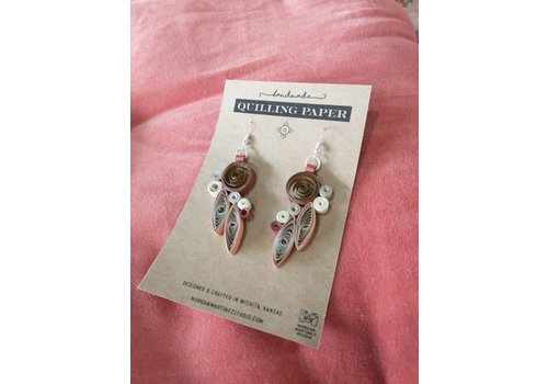 Morgan Martinez Studio Handmade Quilling Paper Earrings-Brown and Tans