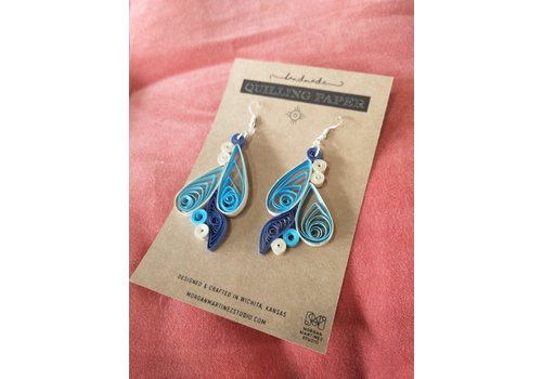 Morgan Martinez Studio Handmade Quilling Paper Earrings- Blues and Cream