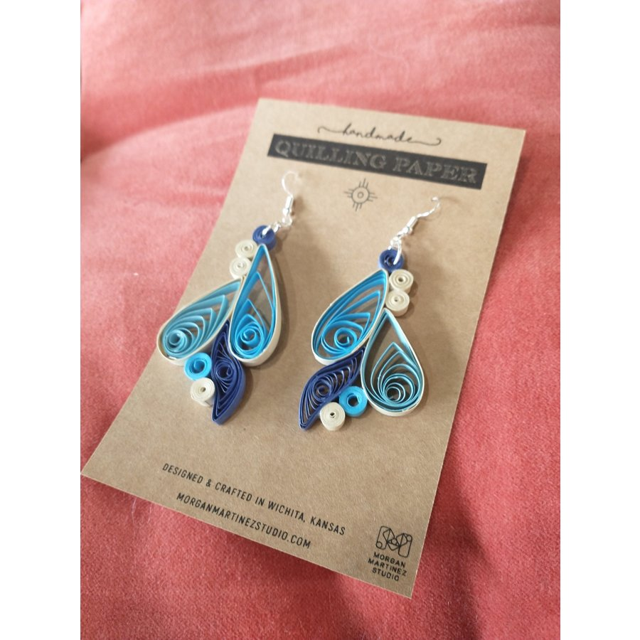 Handmade Quilling Paper Earrings- Blues and Cream