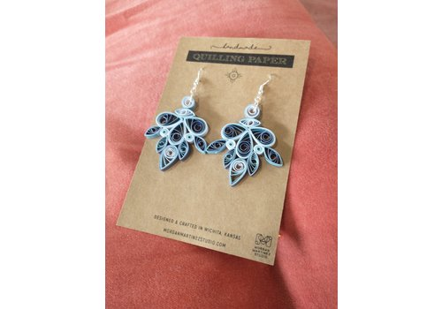 Morgan Martinez Studio Handmade Quilling Paper Earrings- Blue Chandeliers