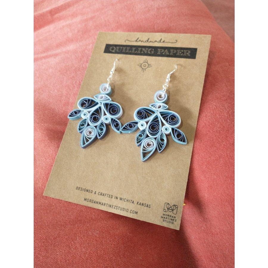 Handmade Quilling Paper Earrings- Blue Chandeliers