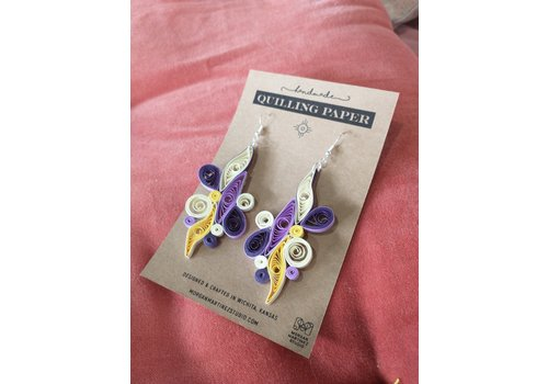 Morgan Martinez Studio Handmade Quilling Paper Earrings- Purple and Yellow