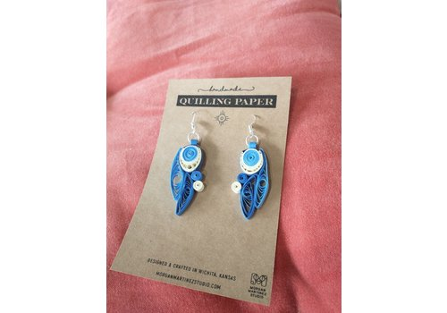 Morgan Martinez Studio Handmade Quilling Paper Earrings- Blue and Cream Eye