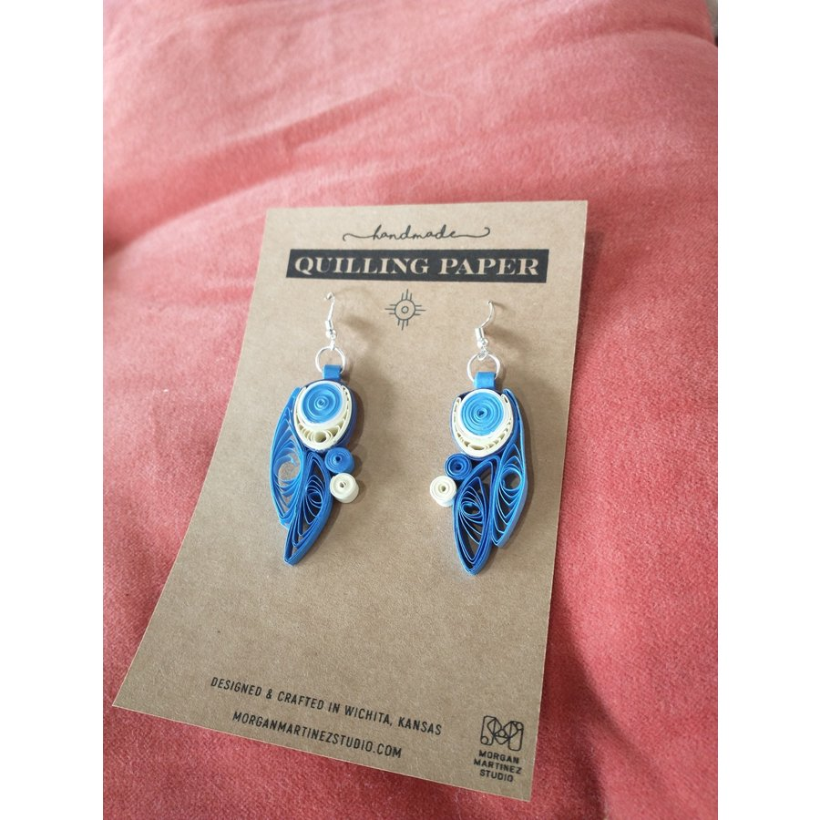 Handmade Quilling Paper Earrings- Blue and Cream Eye