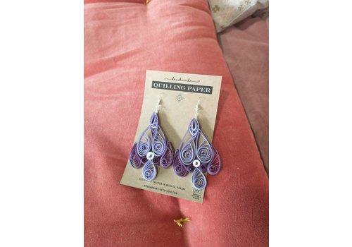 Morgan Martinez Studio Handmade Quilling Paper Earrings- Purple Teardrops