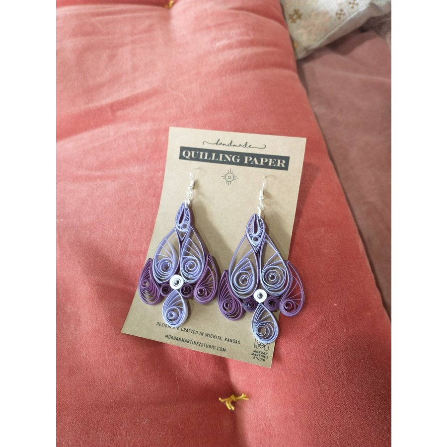 Handmade Quilling Paper Earrings- Purple Teardrops