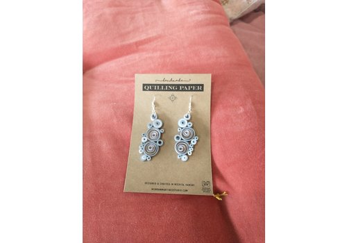 Morgan Martinez Studio Handmade Quilling Paper Earrings- Gray Circles