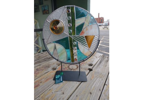 """Renee Harpenau Transend 15"""" Round Stained Glass w/ stand"""