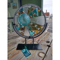 "Glory- 12"" Round Stained Glass w/ Stand"