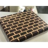 End grain brick wall cutting board