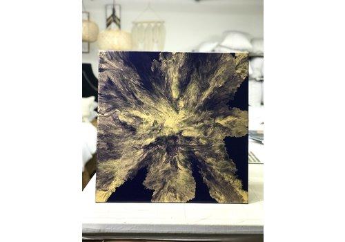"""Acrylic Creations By Jessica Kilpatric Jessica Kilpatric: Dark Blue/Gold 24""""x24"""""""