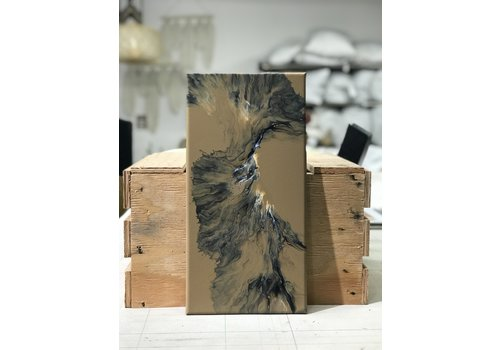 "Acrylic Creations By Jessica Kilpatric Jessica Kilpatric: Tan, Black, and White 8""x16"""