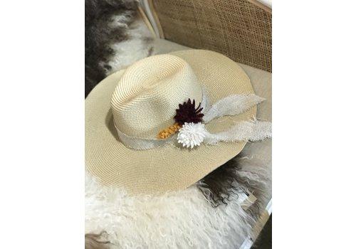 The Workroom Textile Artist Hat- Cream w/ Felt Flowers