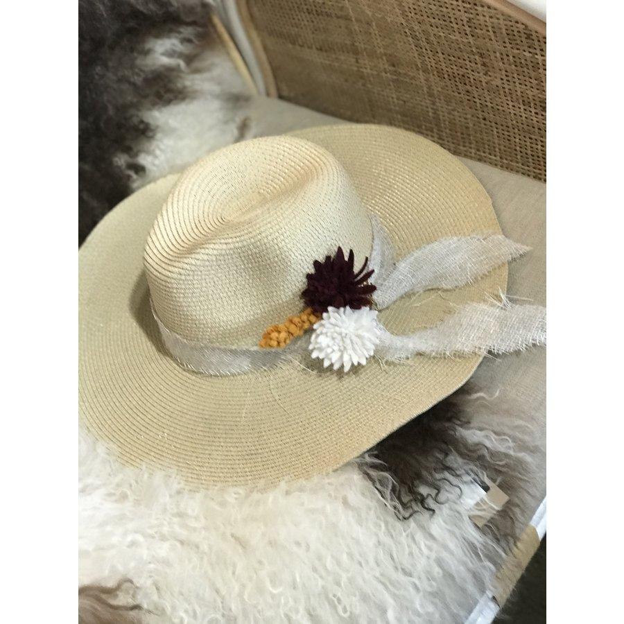 Textile Artist Hat- Cream w/ Felt Flowers