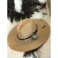 Textile Artist Hat- Tan w/ Leopard Band and Air Plant