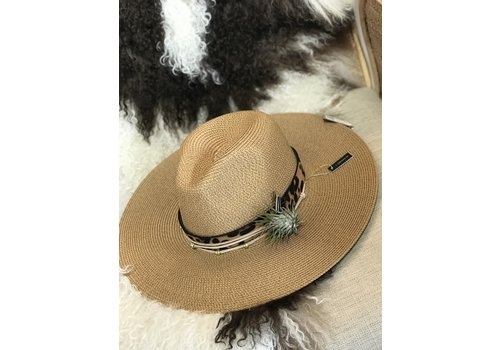 The Workroom Textile Artist Hat- Tan w/ Leopard Band and Air Plant