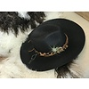 The Workroom Textile Artist Hat- Black with Leopard Band and Air Plant