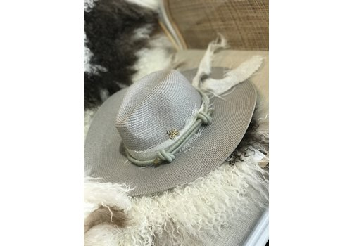The Workroom Textile Artist Hat- Grey w/ Light Green Band