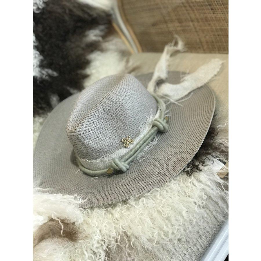 Textile Artist Hat- Grey w/ Light Green Band