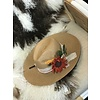 The Workroom Textile Artist Hat- Tan w/ Felt Flowers and Pink Band