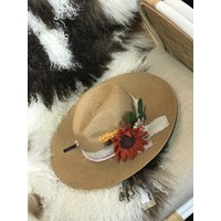 Textile Artist Hat- Tan w/ Felt Flowers and Pink Band