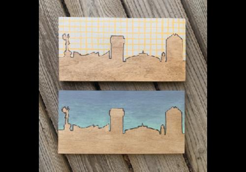 Lindsey Kernodle Woodburnings Painted Two-Tone Skyline