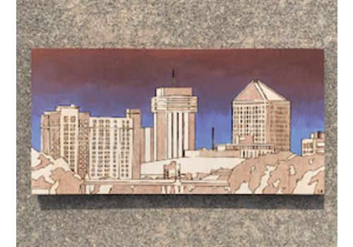 Lindsey Kernodle Woodburnings Wichita Skyline Woodburning Blue/Purple Sky