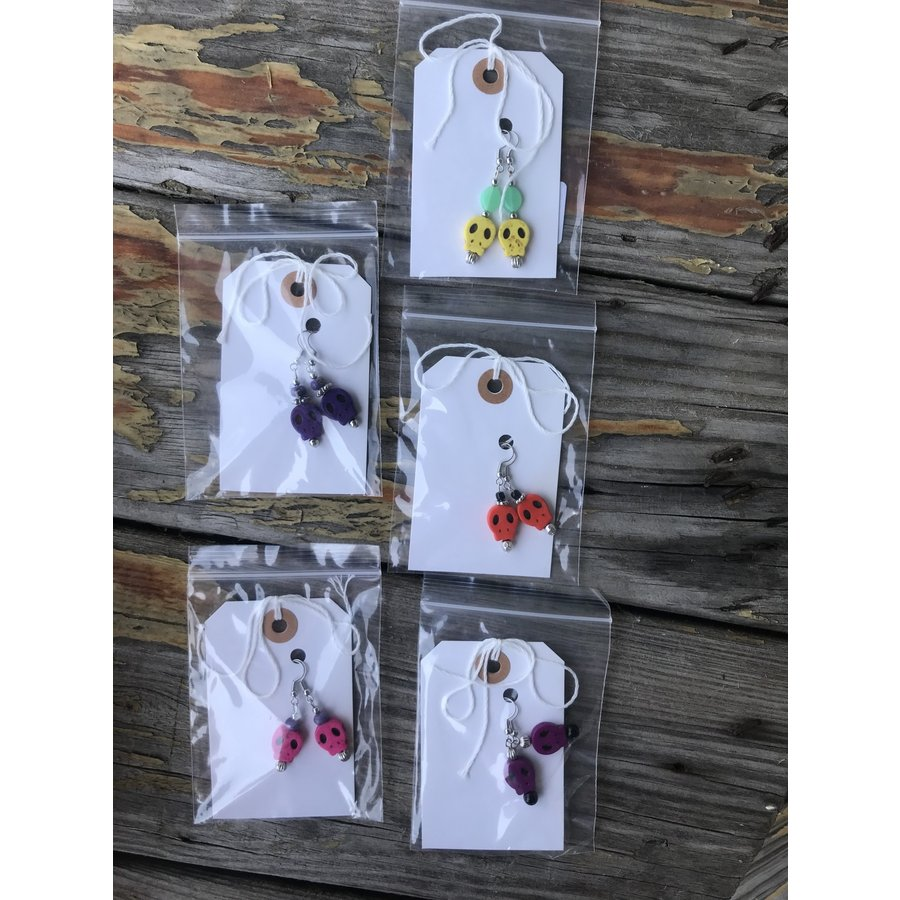 Assorted, Handcrafted Skull Earrings