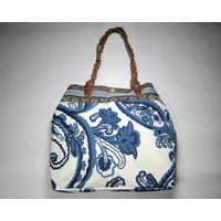 Large Textile Purse w/ Leather Handles