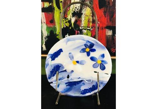 Cindy Raux Blue Flower, Round Plate