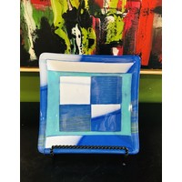 Blue/Teal/White Square Plate