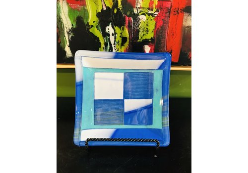 Cindy Raux Blue/Teal/White Square Plate
