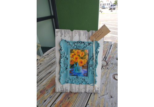 """Sharon Edwards Art Sunny Flowers 9x12.5"""" Cottage Frame Teal and White"""