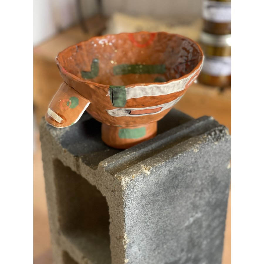 Kat Smalls Studio- Ceramic Bowl- Orange, Green, White