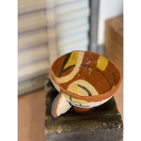 Kat Smalls Studio- Ceramic Bowl- Teal, Yellow, White