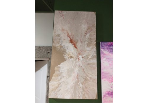 "Acrylic Creations By Jessica Kilpatric Jessica Kilpatric- Tan, White, Copper 12""x24"""