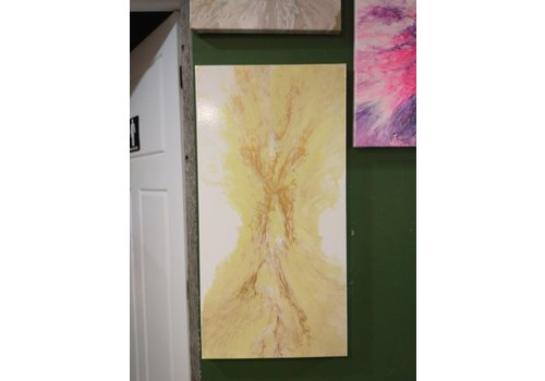 """Acrylic Creations By Jessica Kilpatric Jessica Kilpatric- White, Yellow and Gold 12""""x24"""""""