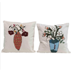 Creative Co-Op Square Cotton Embroidered Pillow with Flowers in Vase