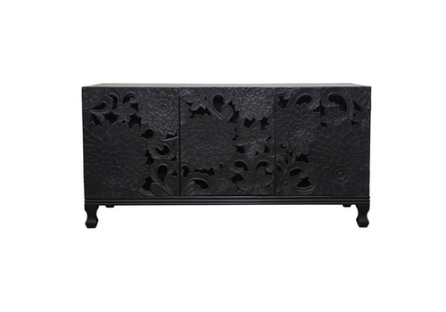 Creative Co-Op Varved, mango Wood Console Table- Black Finish