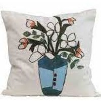 Square Cotton Embroidered Pillow with Flowers in Vase