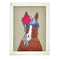 Embroidered Whimsical Wall Art Framed