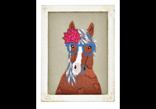 Karma Living Embroidered Whimsical Wall Art Framed
