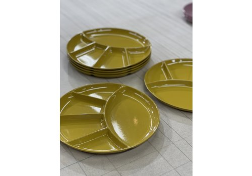 Vintage Yellow Sushi Plates S/6