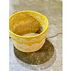 """Kabba Africa Art Handwoven Fiber 8"""" Basket Yellow"""