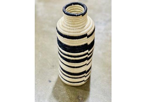"Kabba Africa Art Handwoven Fiber 14"" Vase Black & Natural"